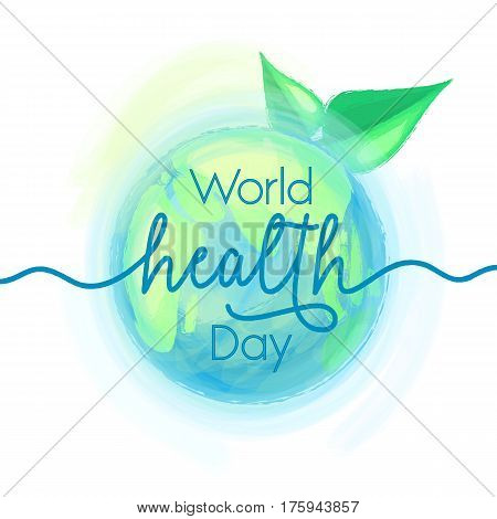 Vector illustration of mother earth globe and green leaves, background for World health day with text sign