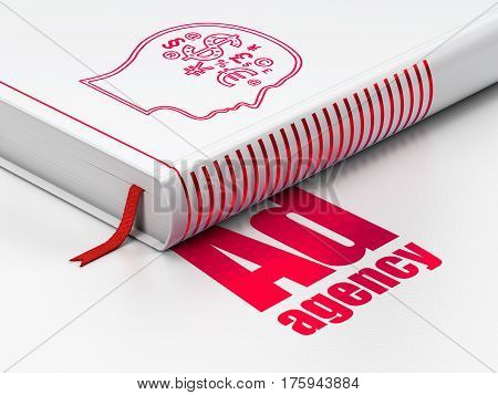 Advertising concept: closed book with Red Head With Finance Symbol icon and text Ad Agency on floor, white background, 3D rendering