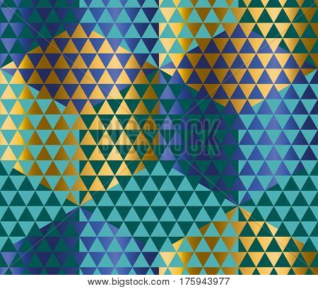 Geometry motif in luxury carnival style. harlequin seamless pattern vector illustration. Abstract triangle complex mosaic background for fabric, wrapping paper, backdrop