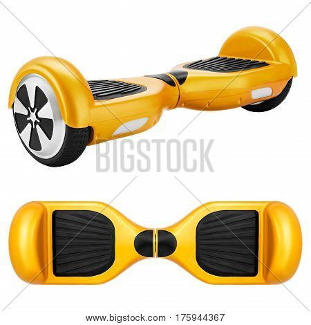 Yellow hover Board, on a White Background