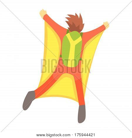 Guy Skydiving With Wingsuit And Parachute, Part Of Teenagers Practicing Extreme Sports For Recreation Set Of Cartoon Characters. Stylized Geometric Illustration With Young Man Doing Extremal Sport For Hobby.