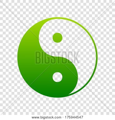 Ying Yang Symbol Of Harmony And Balance. Vector. Green Gradient Icon On Transparent Background.