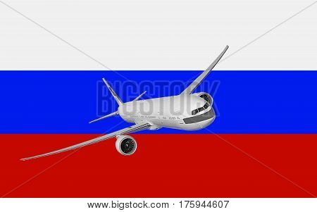the plane on the background of the Russian flag