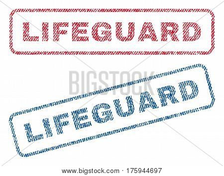 Lifeguard text textile seal stamp watermarks. Blue red fabric vectorized texture. Vector caption inside rounded rectangular banner. Rubber sign with fiber textile structure.