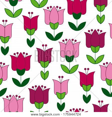 red and pink color abstract tulip flower motif. vector illustration design in folk rustic Holland style. seamless background for wrapping paper or floral rustic fabric