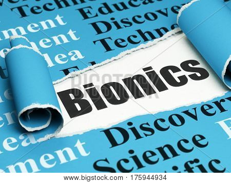 Science concept: black text Bionics under the curled piece of Blue torn paper with  Tag Cloud, 3D rendering