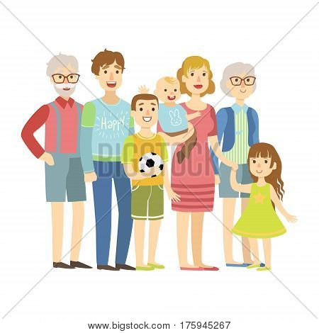 Full Family With Parents, Grandparents And Two Kids, Illustration From Happy Loving Families Series. Smiling Cartoon Characters Together With Their Family Members Vector Drawing.
