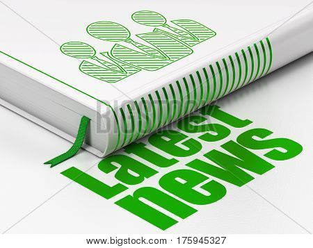 News concept: closed book with Green Business People icon and text Latest News on floor, white background, 3D rendering