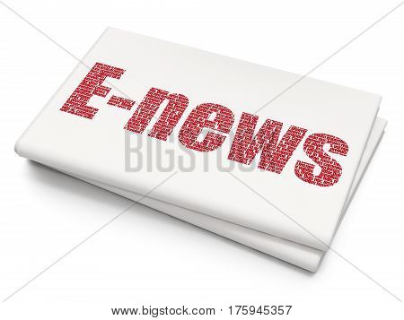 News concept: Pixelated red text E-news on Blank Newspaper background, 3D rendering