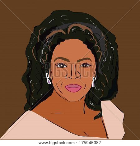12 Mar 2017: Vector portrait of famous TV host Oprah Winfrey.