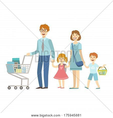 Family Of Four Members Shopping In Supermarket, Illustration From Happy Loving Families Series. Smiling Cartoon Characters Together With Their Family Members Vector Drawing.