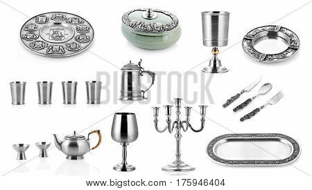 Set of silver ware, silver cutlery, white background