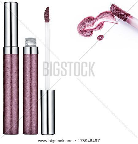 Vinous Lip Gloss tube, sample, isolated on white background