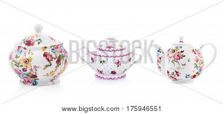 Porcelain kettles, tea kettle, on isolated white background