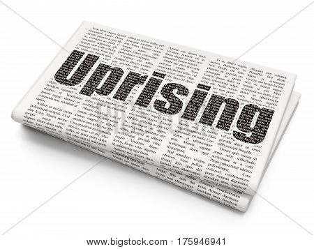 Political concept: Pixelated black text Uprising on Newspaper background, 3D rendering