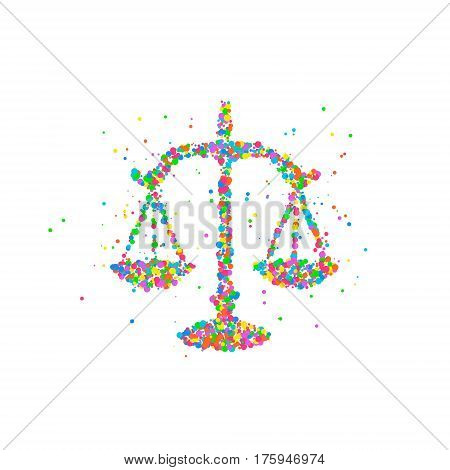Abstract drawing of scales of justice from multi-colored circles. Vector illustration.