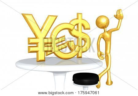 The Original 3D Character Illustration Walking Away With YES Currency Left Behind