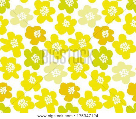 sunny lemon color summer floral vector illustration in retro 60s style. abstract hand drawn flowers seamless pattern for fabric, wrapping paper.