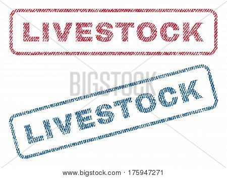 Livestock text textile seal stamp watermarks. Blue red fabric vectorized texture. Vector tag inside rounded rectangular banner. Rubber sign with fiber textile structure.