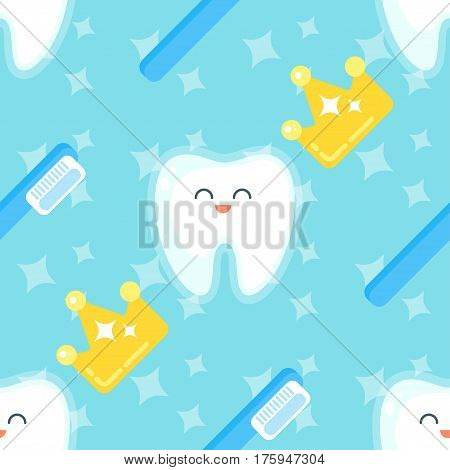 Vector flat style seamless pattern with teeth, golden crown and tooth brush on blue background.