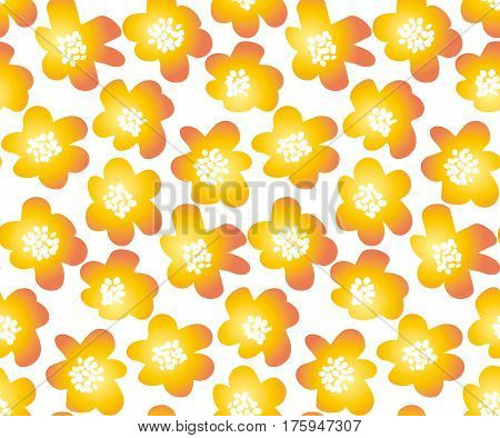 hot orange color summer floral vector illustration in retro 60s style. abstract hand drawn flowers seamless pattern for fabric, wrapping paper.