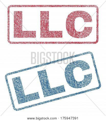 Llc text textile seal stamp watermarks. Blue red fabric vectorized texture. Vector caption inside rounded rectangular shape. Rubber sticker with fiber textile structure.