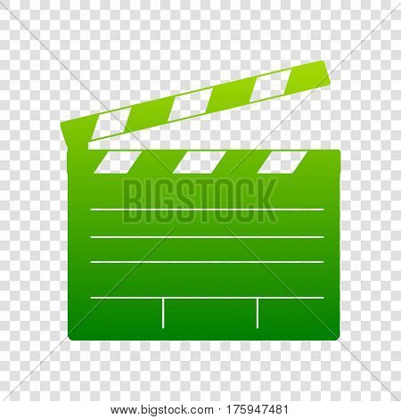 Film Clap Board Cinema Sign. Vector. Green Gradient Icon On Transparent Background.