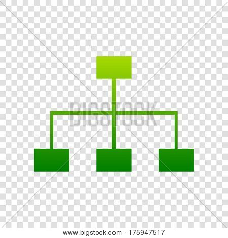 Site Map Sign. Vector. Green Gradient Icon On Transparent Background.