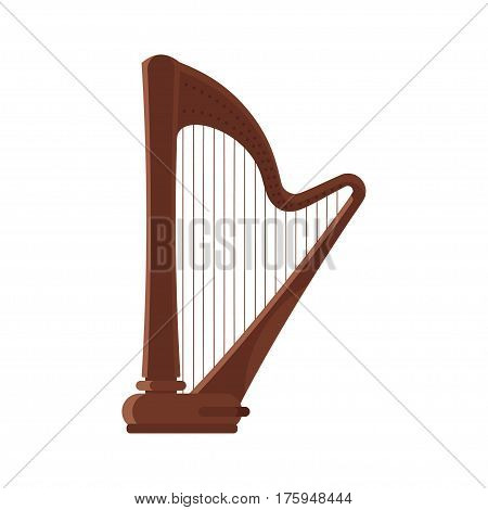 Vector flat style antique musical instrument harp. Icon for web. Isolated on white background.