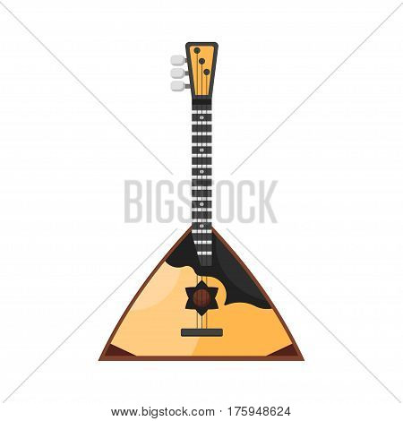 Vector flat style Russian traditional musical instrument balalaika. Icon for web. Isolated on white background.