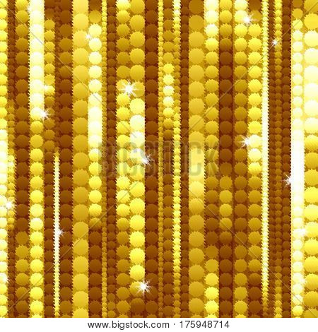 golden abstract background of curved squares and stripes