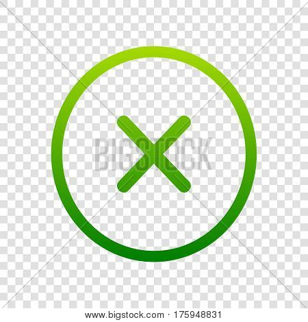 Cross Sign Illustration. Vector. Green Gradient Icon On Transparent Background.