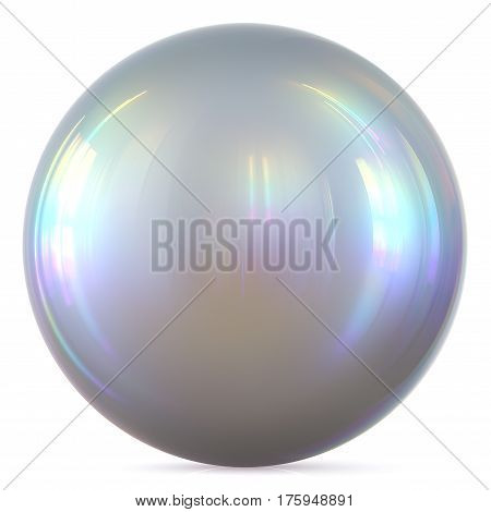 Ball silver sphere chrome white round button basic circle geometric shape solid figure simple minimalistic atom element single drop glossy sparkling object blank balloon icon. 3d render illustration