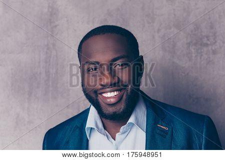 Close Up Portrait Of Handsome Bearded Afroamerican Man In Formalwear Smiling