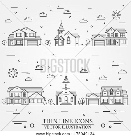 Neighborhood with homes illustrated on white. Vector thin line icon suburban american houses. For web design and application interface, also useful for infographics. Vector dark grey.