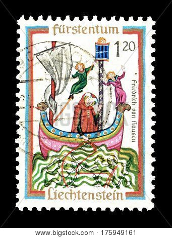 LIECHTENSTEIN - CIRCA 1962 :  Cancelled postage stamp printed by Liechtenstein, that shows Friedrich von Hausen.