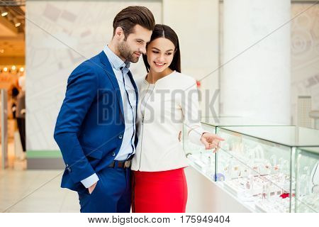 Together On Shopping. Successful Handsome  Stylish Man Buy Gifts For His Happy Woman.  Young Woman P