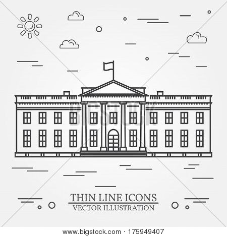 Vector thin line icon White house. For web design and application interface, also useful for infographics.