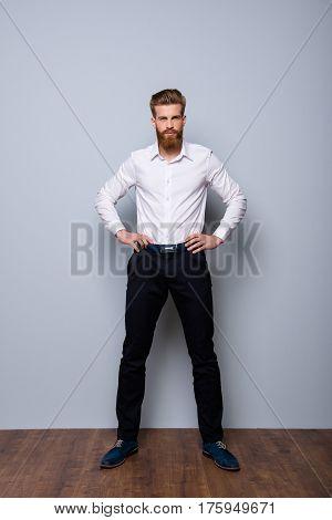 Full-length Portrait Of Serious Confident  Bearded Man In Formalwear