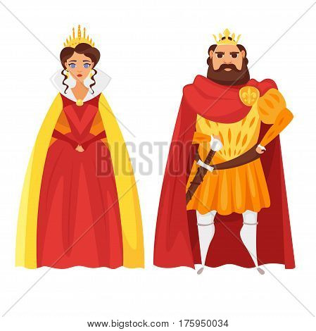 Vector cartoon style illustration of King and queen. Icon for web. Isolated on white background.