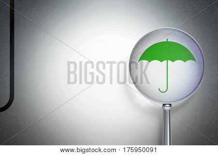 Protection concept: magnifying optical glass with Umbrella icon on digital background, empty copyspace for card, text, advertising, 3D rendering