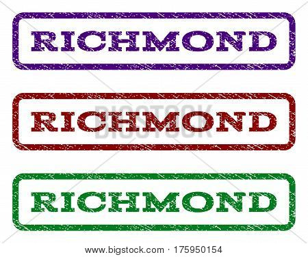 Richmond watermark stamp. Text tag inside rounded rectangle frame with grunge design style. Vector variants are indigo blue, red, green ink colors. Rubber seal stamp with unclean texture.
