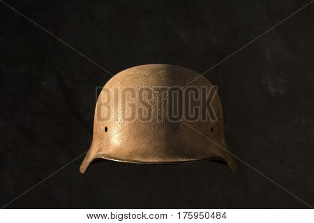 A rusty German World War Two military helmet. Found in ex soviet union country