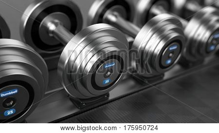 Row of Dumbbell weights in the gym. 3d render