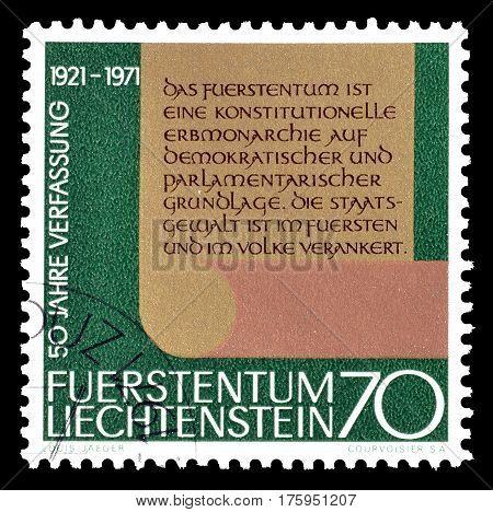 LIECHTENSTEIN - CIRCA 1971 :  Cancelled postage stamp printed by Liechtenstein, that shows New constitution.