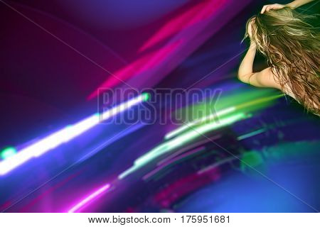 nightclub parties. girl dancing on scene