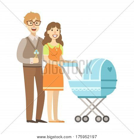 Young Parents Walking With A Stroller, Illustration From Happy Loving Families Series. Smiling Cartoon Characters Together With Their Family Members Vector Drawing.