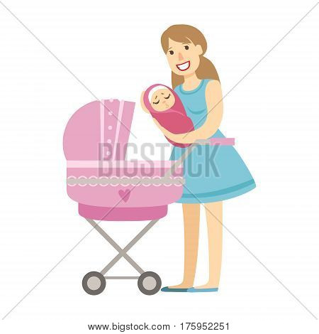 Young Mom Putting Baby In The Stroller, Illustration From Happy Loving Families Series. Smiling Cartoon Characters Together With Their Family Members Vector Drawing.
