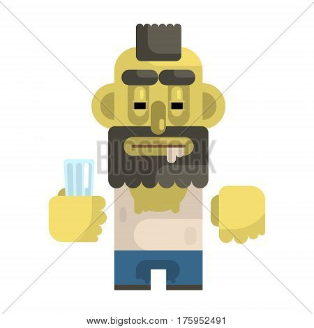 Alcoholic With Glass And Mohawk, Revolting Homeless Person, Dreg Of Society, Pixelated Simplified Male Vagabond Character. Scary And Disgusting Outcast Addict Isolated Vector Flat Icon.