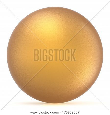Sphere round button golden ball basic matted yellow circle geometric shape solid figure simple minimalistic atom single drop object blank balloon icon design element. 3D render illustration isolated